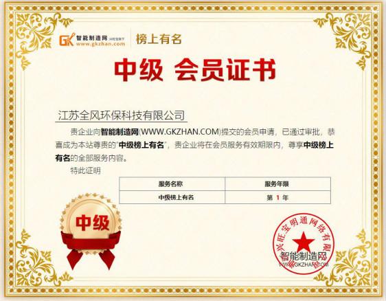江苏全风入驻智能制造网中级榜上有名会员