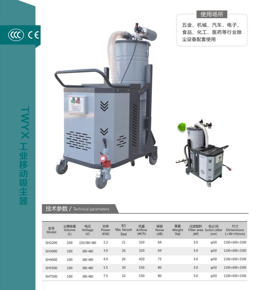 SH2200工业吸尘器大功吸尘器  木屑粉尘两用吸尘器 工业移动式吸尘器 金属铝屑吸尘器示例图8